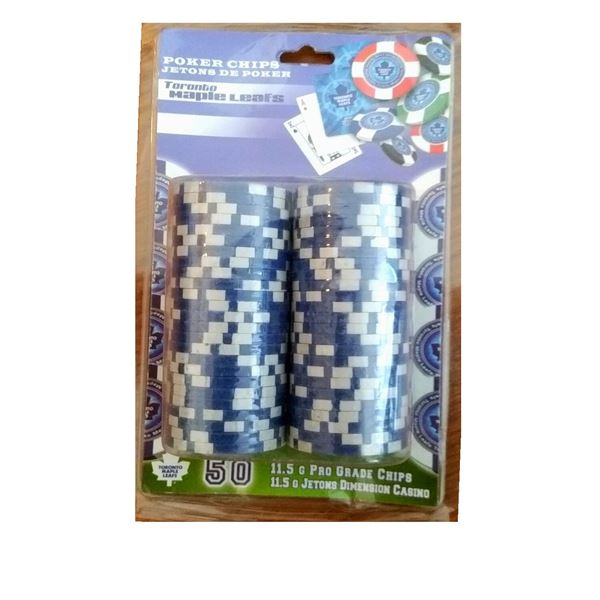 Toronto Maple Leafs Poker Chips - Quantity of 50 in Original Packaging