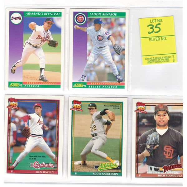 Baseball Cards - THREE Cards Topps 40 Years of Baseball and TWO Score 92 Cards
