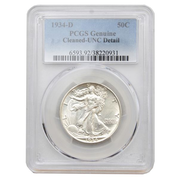 USA Half Dollar 1934-D USA PCGS Certified (Cleaned) UNC Details