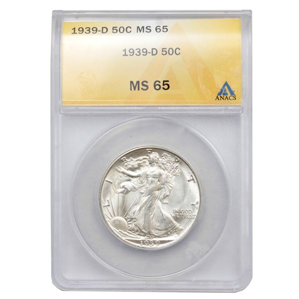 USA Half Dollar 1939-D ANACS Certified MS-65