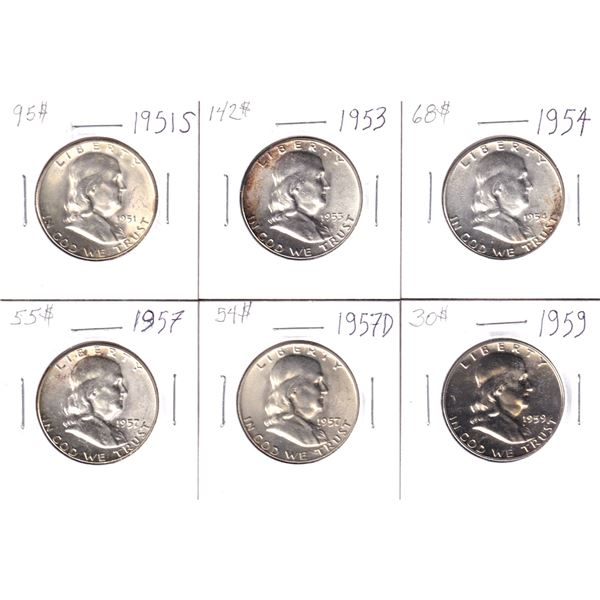 Group lot of 6x Silver Franklin half Dollars all in Choice BU-PL Grades. Lot includes: 1951S, 1953,