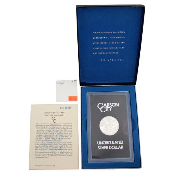 USA Silver Morgan $1 1881-CC GSA Hoard Better Key Carson City Coin Box/Cert  UNC+. *KEY DATE*