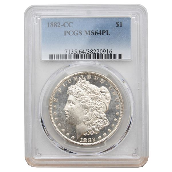 USA Silver Morgan $1 1882-CC USA Dollar PCGS Certified MS-64 (PL)