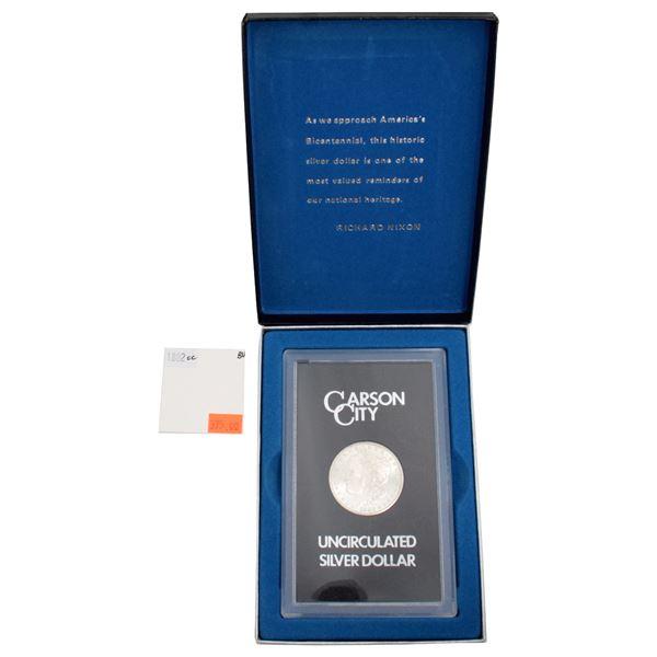 USA Silver Morgan $1 1882-CC  GSA Hoard Better Key Carson City Coin Box in Brilliant Uncirculated.