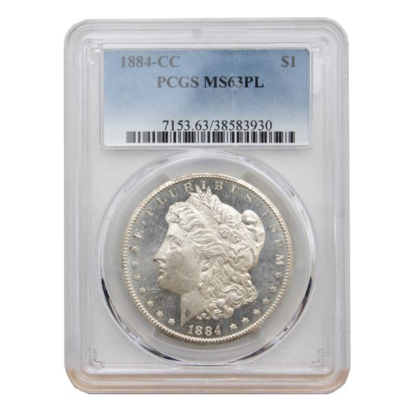 USA Silver Morgan $1 1884-CC USA Dollar PCGS Certified MS-63 (PL)