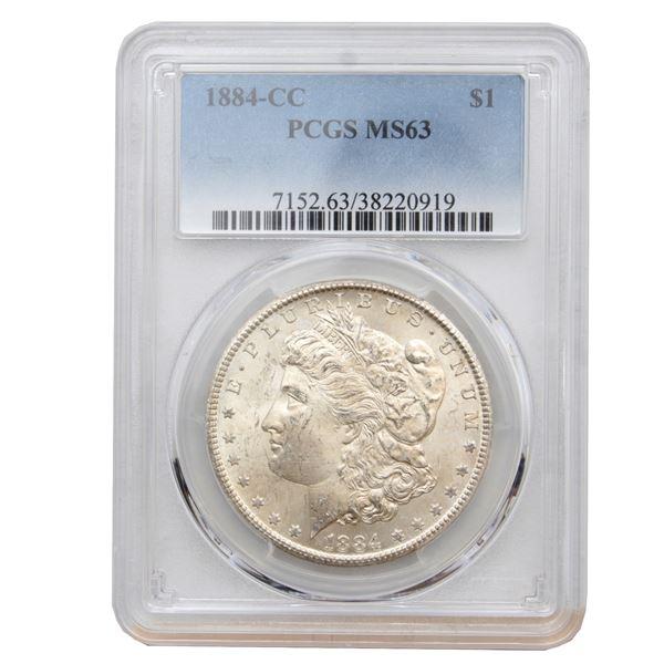 USA Silver Morgan $1 1884-CC USA Dollar PCGS Certified MS-63