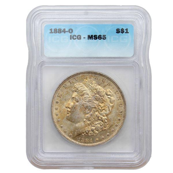 USA Silver Morgan $1 1884-O USA Dollar ICG Certified MS-65
