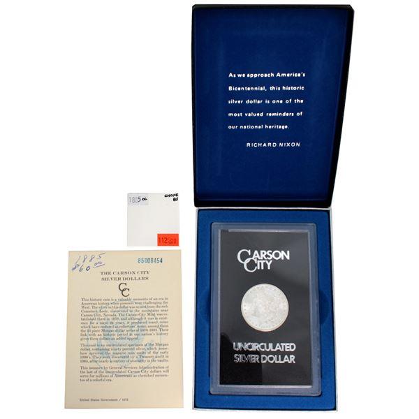 USA Silver Morgan $1 1885-CC  GSA Hoard Better Key Carson City Coin Box/Cert Choice Brilliant Uncirc