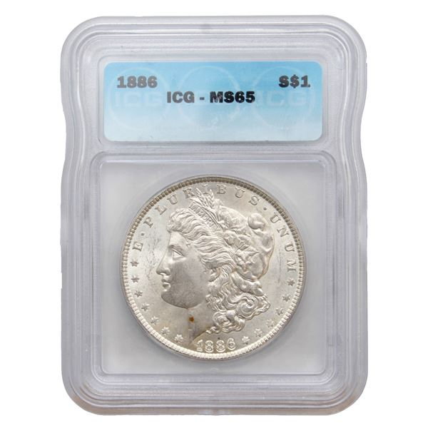 USA Silver Morgan $1 1886 ICG Certified MS-65