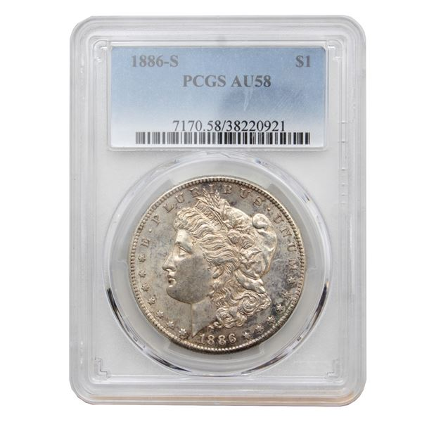 USA Silver Morgan $1 1886-S PCGS Certified AU-58