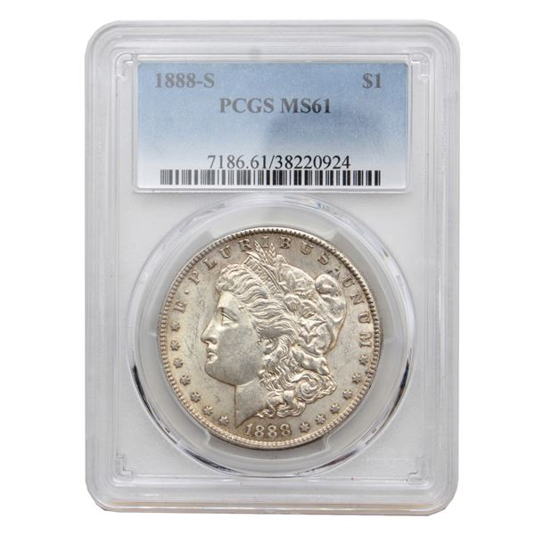 USA Silver Morgan $1 1888-S  PCGS Certified MS-61