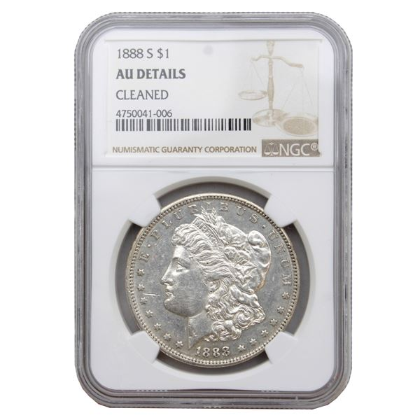 USA Silver Morgan $1 1888-S  NGC Certified (Cleaned) AU Details