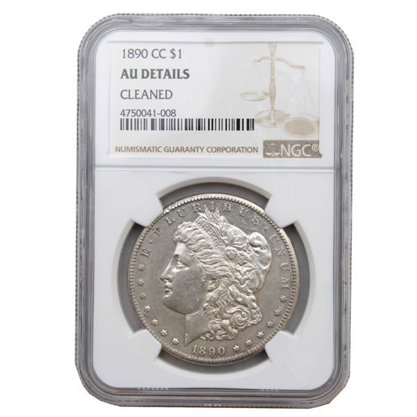 USA Silver Morgan $1 1890-CC  NGC Certified (Cleaned) AU Details