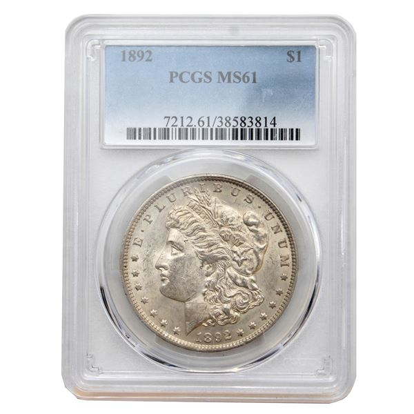 USA Silver Morgan $1 1892  PCGS Certified MS-61