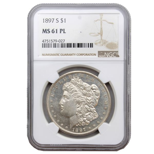 USA Silver Morgan $1 1897-S  NGC Certified MS-61 (PL)