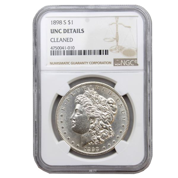 USA Silver Morgan $1 1898-S  NGC Certified (Cleaned) UNC Details