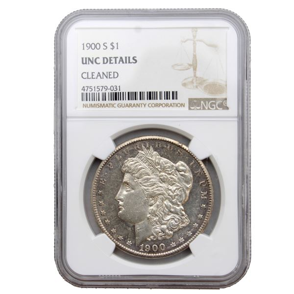 USA Silver Morgan $1 1900-S  NGC Certified (Cleaned) UNC Details