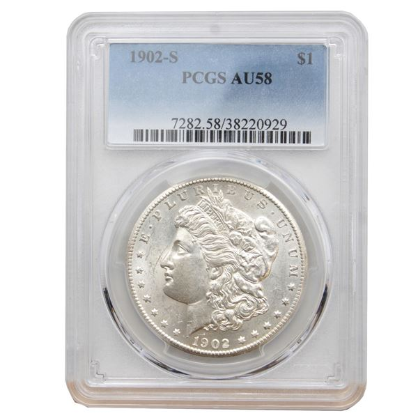 USA Silver Morgan $1 1902-S  PCGS Certified AU-58