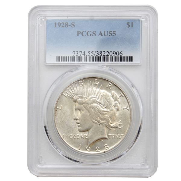 USA Silver Peace $1 1928-S PCGS Certified AU-55