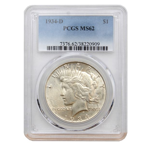 USA Silver Peace $1 1934-D  PCGS Certified MS-62