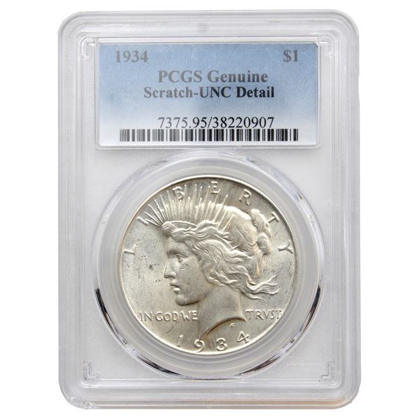 USA Silver Peace $1 1934 PCGS Certified (Scratch) UNC Details