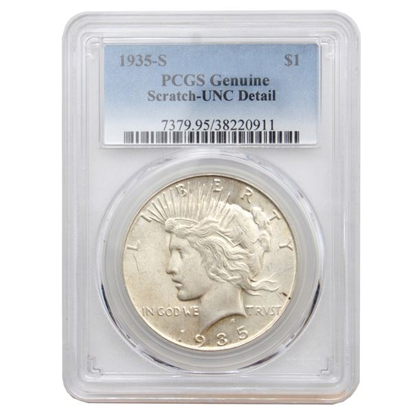 USA Silver Peace $1 1935-S PCGS Certified (Scratch) UNC Details