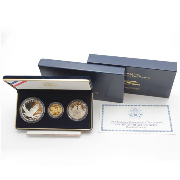 US Mint Issue: 2008 USA Bald Eagle Commemorative Coin Program 3-coin Proof Set. Features a $5 .900 g
