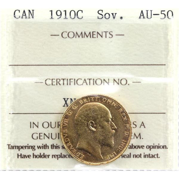 1910-C  Canada Gold Sovereign ICCS Certified AU-50. Coin is 22K and contains 0.2354oz fine gold.