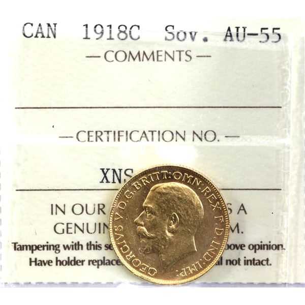 1918-C Gold Sovereign ICCS Certified AU-55. Coin is 22K and contains 0.2354oz fine gold.