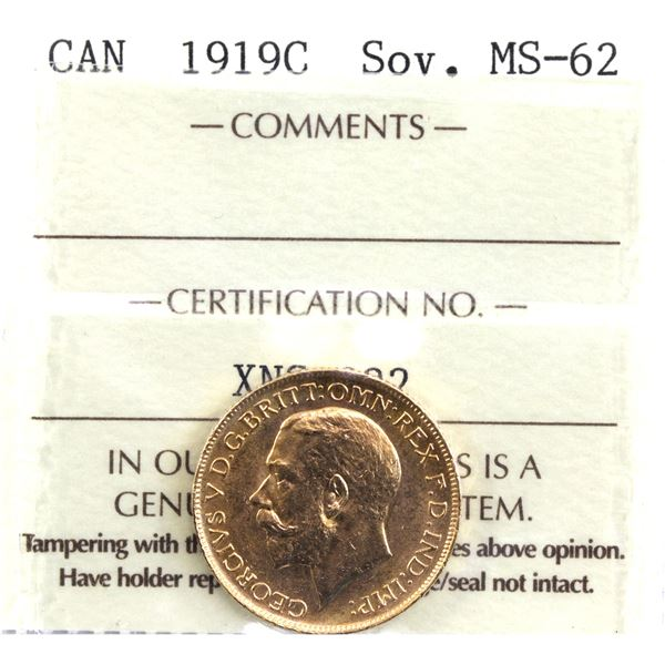 1919-C Gold Sovereign ICCS Certified MS-62. Coin is 22K and contains 0.2354oz fine gold.