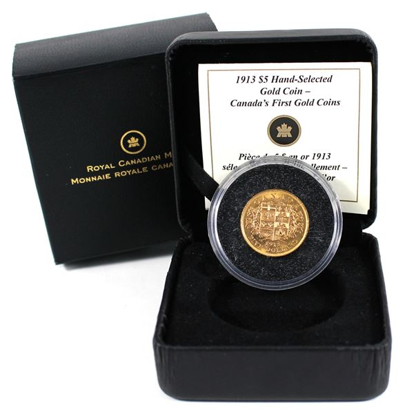 1913 Canada $5 Gold Hand-Selected, Canada's First Gold Coins. Comes with all original mint packaging