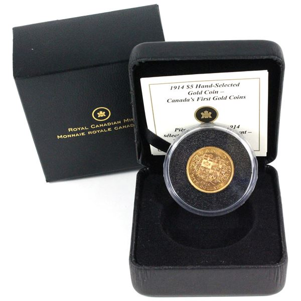 1914 Canada $5 Hand-Selected - Canada's First Gold Coins. Contains 0.242oz fine gold.