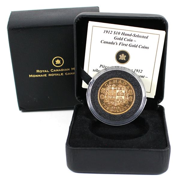 1912 $10 Gold Hand Selected. Comes with all original mint packaging and C.O.A. Contains 0.484oz fine