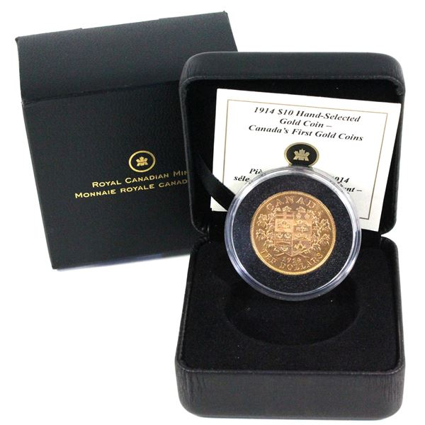 1914 Canada $10 Hand-Selected - Canada's First Gold Coins. Contains 0.484oz fine gold.