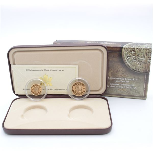 1912 90th Anniversary of Canada's First Gold Coins 2-coin Set (Sleeve lightly bent). Features 90% go