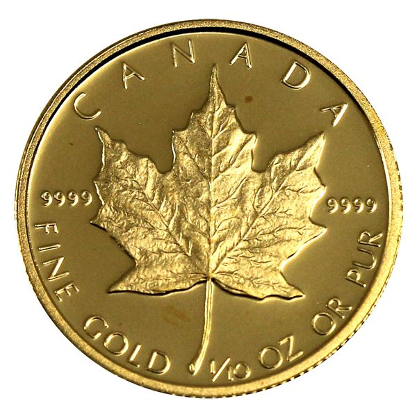 1989 Canada 1/10th Proof Gold Maple Leaf 10th Anniversary Commemorative. Comes in Mint Capsule. (Tax
