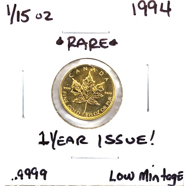 1994 Canada 1/15th oz Pure Gold Maple Leaf! *Rare 1 year issue* (Tax exempt)