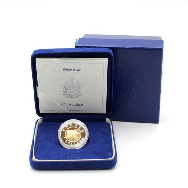 1996 $2 Polar Bear Commemorative Coin with 22KT Gold Centre (Coin lightly toned on back & box lid is