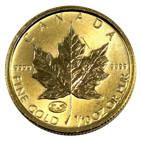 1998 Canada $5 1/10th oz Gold Maple 'Family of Eagles' Privy Mark. (Tax Exempt)