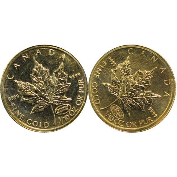 Pair of 1999 & 2000 1/10th oz Gold Maple leaf  Millennium Privy Marks. Both coins still sealed in or