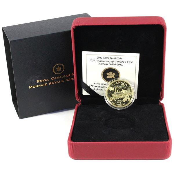 2011 $100 Anniversary of Canada's First Rail Road 14K Gold Coin. Mintage of 3000 coins. (0.225ozt)