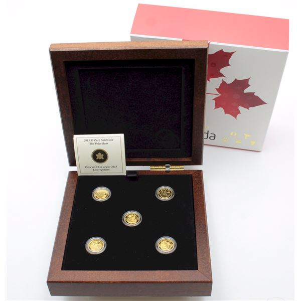 2013 $5 O Canada 5-coin Fine Gold Set in Deluxe Box. Mintage of 4000 per coin. (TAX Exempt)