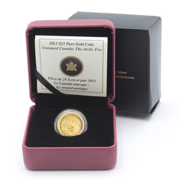 2013 $25 Arctic Fox 1/4oz Fine Gold Coin (Sleeve is lightly bent). Mintage of only 1500! (TAX Exempt