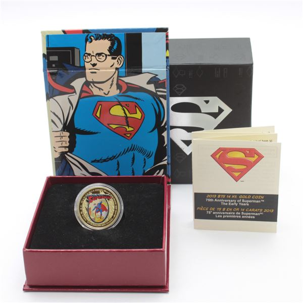 2013 $75 Superman - The Early Years 14K Gold Coin. Mintage of only 2000!