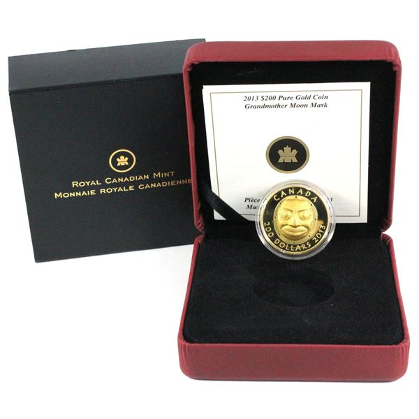 2013 $200 Grandmother Moon Mask Fine Gold Coin (1.07 ozt)  (Capsule lightly clouded on the back). Mi
