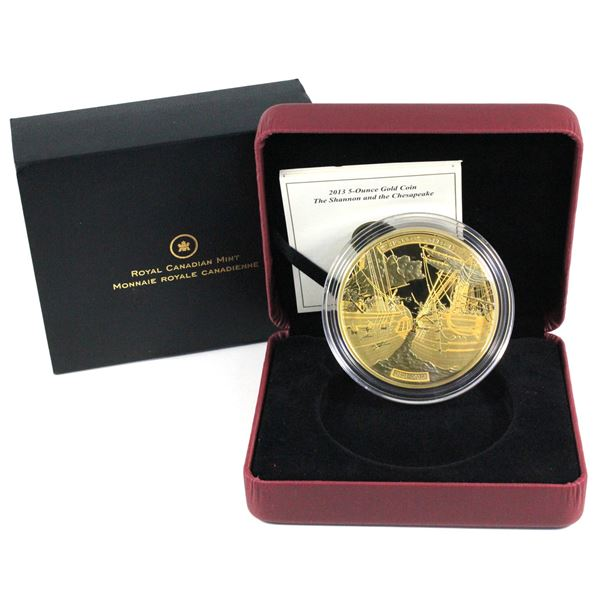 2013 $500 HMS Shannon & USS Chesapeake 5oz Fine Gold Coin. (156.5g of .9999 ) COA #069/200. (TAX Exe