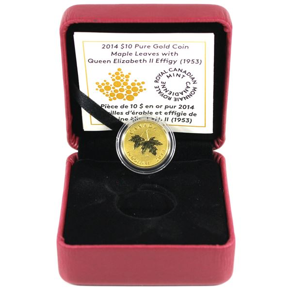 2014 $10 Maple Leaves with 1953 Effigy 1/4oz Fine Gold Coin. Low mintage of only 1500! (TAX Exempt)
