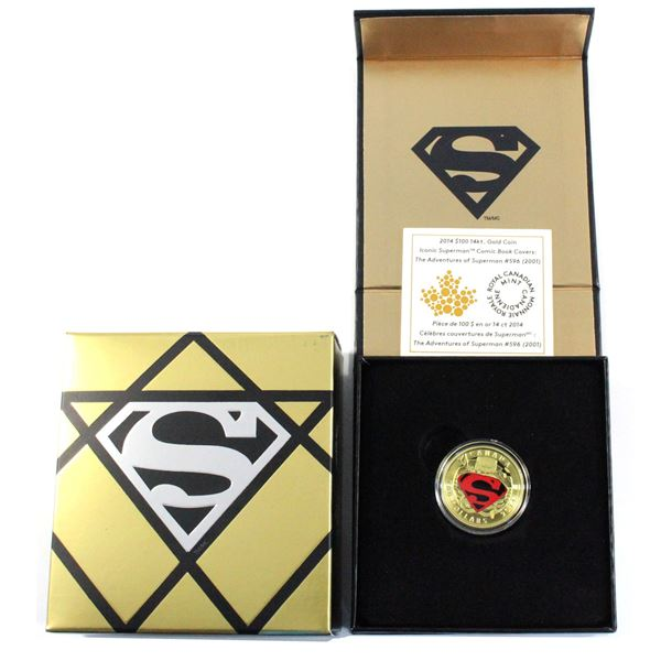 2014 $100 Iconic Superman - Adventures of Superman #596 14K Gold Coin. COA #0666/2000.
