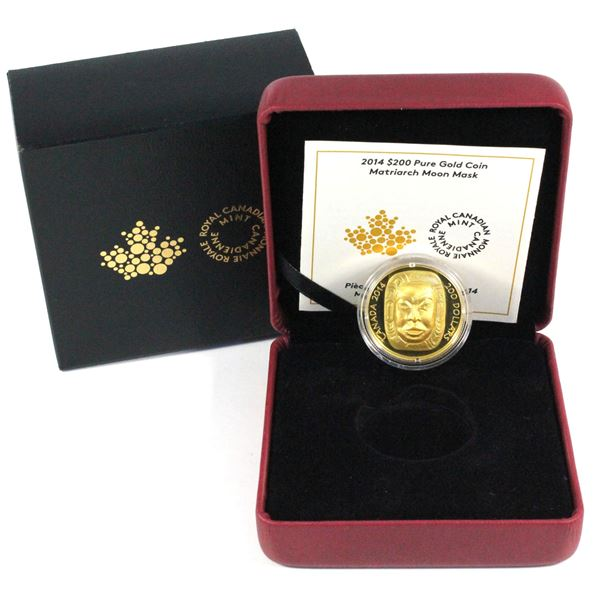 2014 Canada $200 Matriarch Moon Mask Fine Gold Coin. Mintage of only 500! (1.07ozt)  (TAX Exempt)