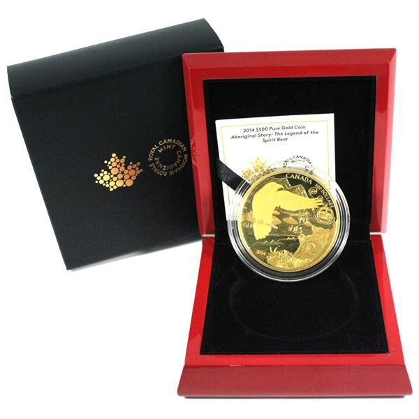 2014 $500 Legend of the Spirit Bear 5oz Fine Gold Coin  COA #07/50! (TAX Exempt)